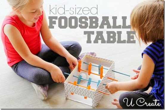 Kid Made Foosball Table is a great summer raindy day kids activities