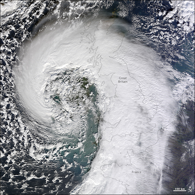 NASA's Terra satellite captured this image of an extratropical cyclone bearing down on the United Kingdom, on 12 February 2014. Photo: Jesse Allen / NASA