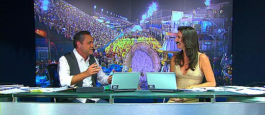 Cleber Machado e Glenda Kozlowski - Foto: Reprodução/TV Globo