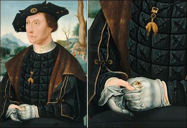 Mostaert, Portrait d'un homme tirant un gant 1520-22