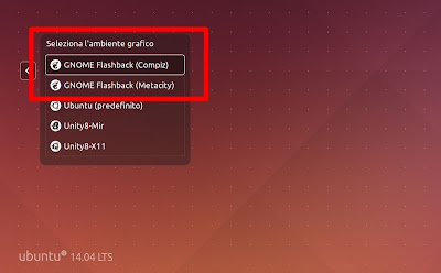 GNOME Flashback Session in Ubuntu - login versione Compiz e Metacity
