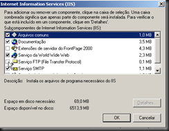 Windows XP : Atualizando Componentes do Windows : IIS : Detalhes : FTP