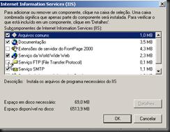 Windows XP : Atualizando Componentes do Windows : IIS : Detalhes : FTP