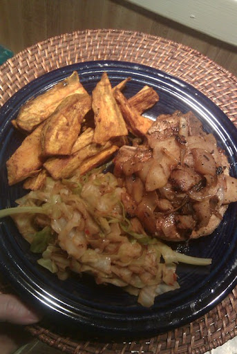 Sweet Potato Fries, Pork with Apples & Onions, Sauteed Cabbage