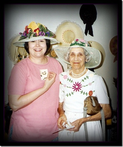1998 May 11 - A Mother's Day Tea - LaVon (2nd place hat) & Mama Trudy (3rd place hat)