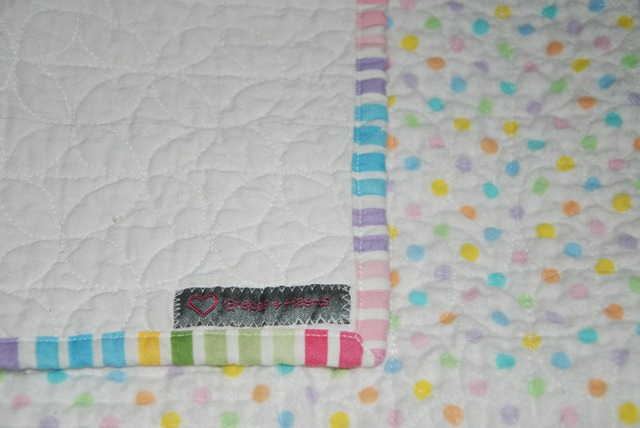 PP Baby Quilt binding and tag