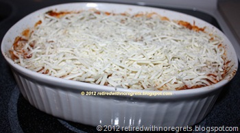 Baked Vegetarian Pasta - baked - ready to go back in the oven to melt mozarella B
