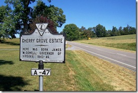 Cherry Grove Estate marker along U.S. Route 11