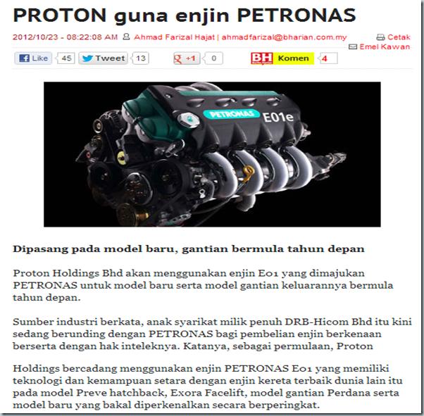 Berita Harian   PROTON guna enjin PETRONAS-125818