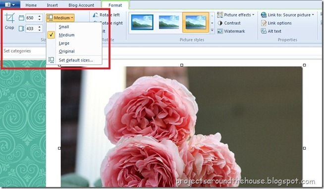 How to  resize picture in Windows Live Writer