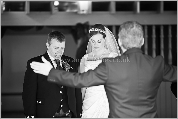 black and white scottish wedding service