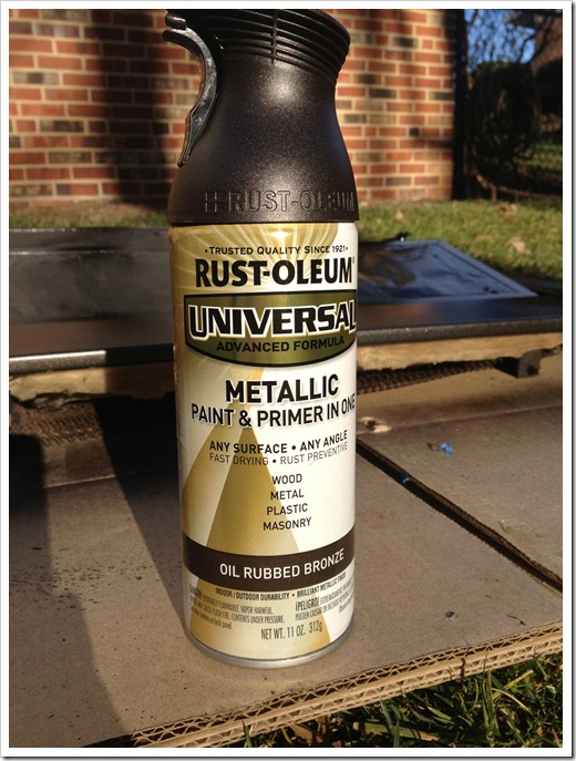 was a can of rustoleum s oil rubbed bronze metallic spray paint. Black Bedroom Furniture Sets. Home Design Ideas