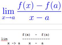 Na parte de cima está a equação na forma de imagem enquanto que na parte de baixo está a equação no formato de texto ASCII