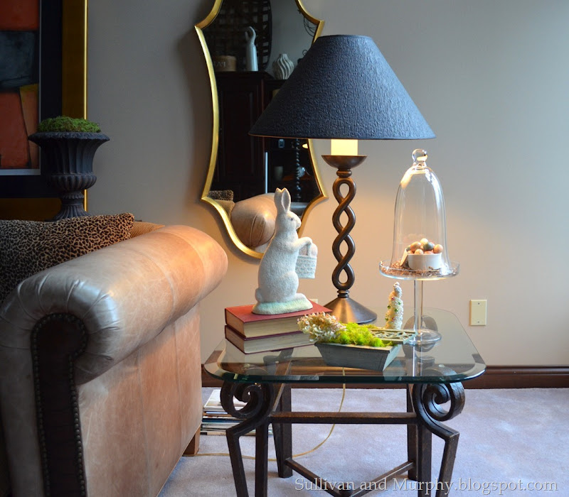 end table with cloche