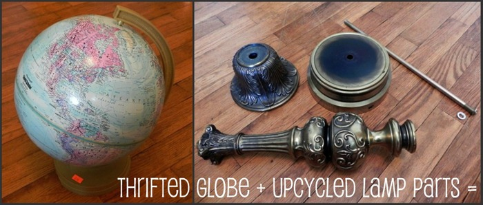 globe pedestal collage