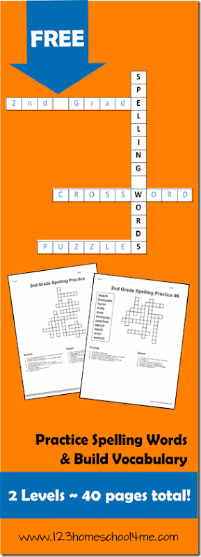 FREE 2nd Grade Crossword Spelling Puzzles #spelling #worksheetsforkids #homeschooling