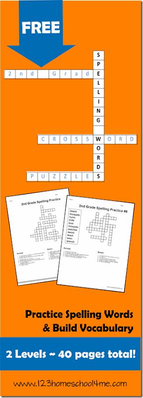 FREE 2nd Grade Crossword Spelling Puzzles #spelling #worksheetsforkids #homeschooling