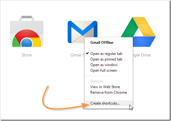 Creating gmail offline sortcut