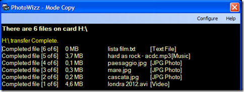 File automaticamente trasferiti dalla chiavetta USB al PC con PhotoWizz