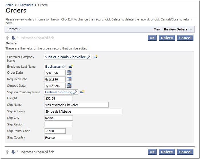 Default Orders edit form with 'Employee Last Name' field