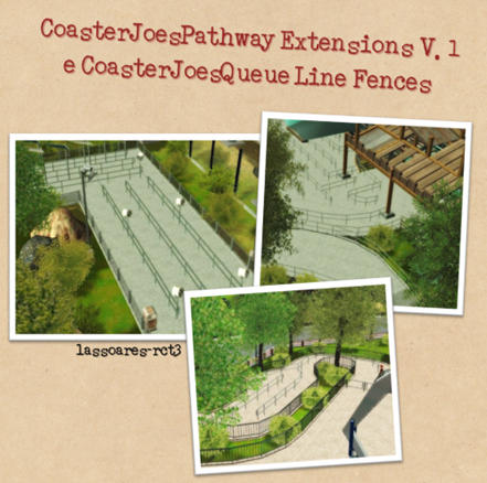 Pathway Extensions V.1 e Queue Line Fences (CoasterJoe) lassoares-rct3