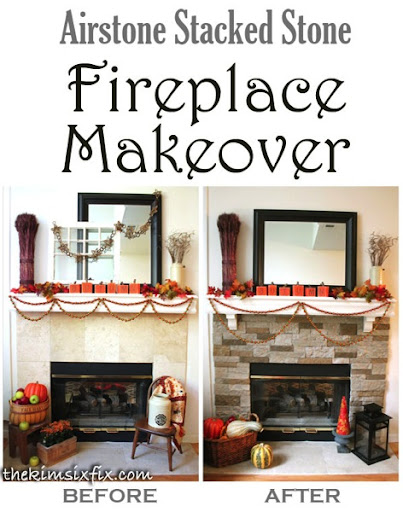 Airstone Stacked Stone Fireplace Update - The Kim Six Fix