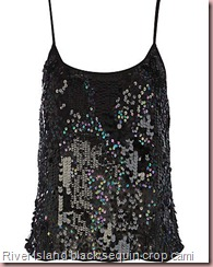 black sequin crop cami
