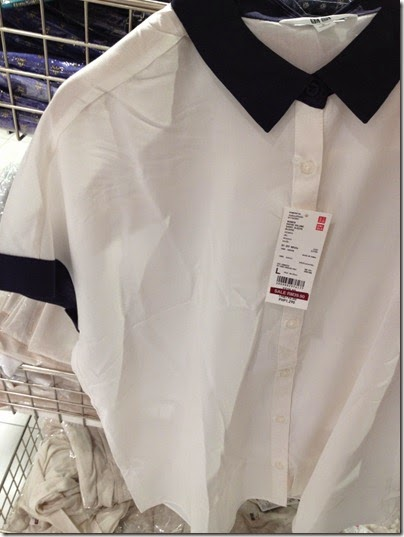 Uniqlo white-black collar blouse