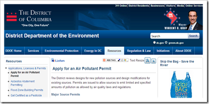 District of Columbia Department of the Environment Air Pollution Permit