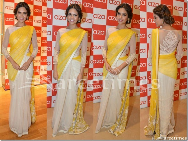 Esha_Gupta_Yellow_White_Half_and_Half_Saree