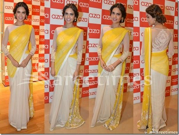 Esha_Gupta_Yellow_White_Half_and_Half_Saree