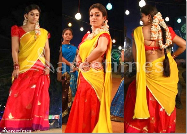 Nayanthara_Yellow_Red_Half_Saree