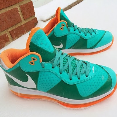 nike air max lebron 8 v2 low miami dolphins 1 02 Nike LeBron 8 V/2 Low Miami Dolphins Unreleased Sample