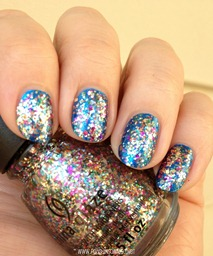 China Glaze Pizzazz over China Glaze Blue Bells Ring 4