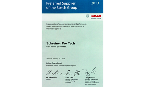 Schereiner Protech Preferred Supplier to Bosch