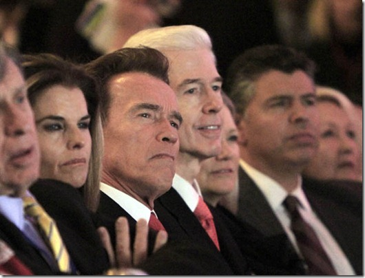 Maria Shriver, Arnold Schwarzenegger, Gray Davis, Abel Maldonado...Outgoing California Gov. Arnold Schwarzenegger second from left, and the man he replaced, former Gov. Gray Davis, third from left, listen as Gov. Jerry Brown makes remarks after he was sworn-in as the 39th Governor of California during ceremonies in Sacramento, Calif. Monday, Jan. 3, 2011.  Also seen are Schwarzenegger's wife, Maria Shriver, left, and former Lt. Gov. Abel Maldonado, right. (AP Photo/Rich Pedroncelli)