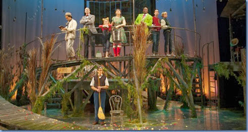 Wind Willows Xmas trtc 035.A Wind in the Willows Christmas  at Two River Theatre Company.December 8, 2012 - December 30, 2012.Based on the Novel by Kenneth Grahame.Music by Mike Reid      Lyrics by Sarah Schlesinger      Book by Mindi Dickstein .Music Direction by James Sampliner.Directed by Amanda Dehnert.Scenic and Costume Design: Philip Witcomb.Lighting Design: Tyler Micoleau. .© T Charles Erickson.http://tcharleserickson.photoshelter.com.tcepix@comcast.net