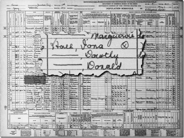 The Hall family in the 1940 Census in Junction City, Kansas