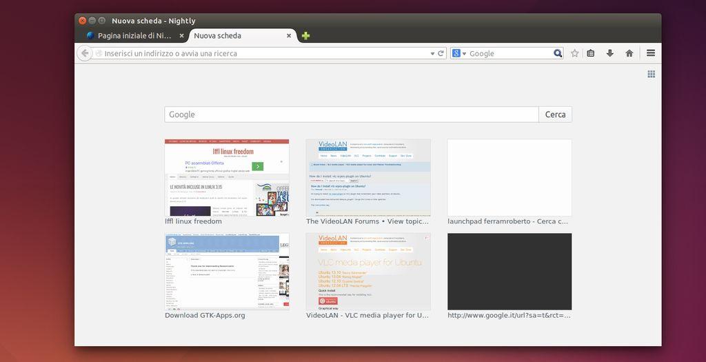 Firefox - barra ricerca nella nuova scheda