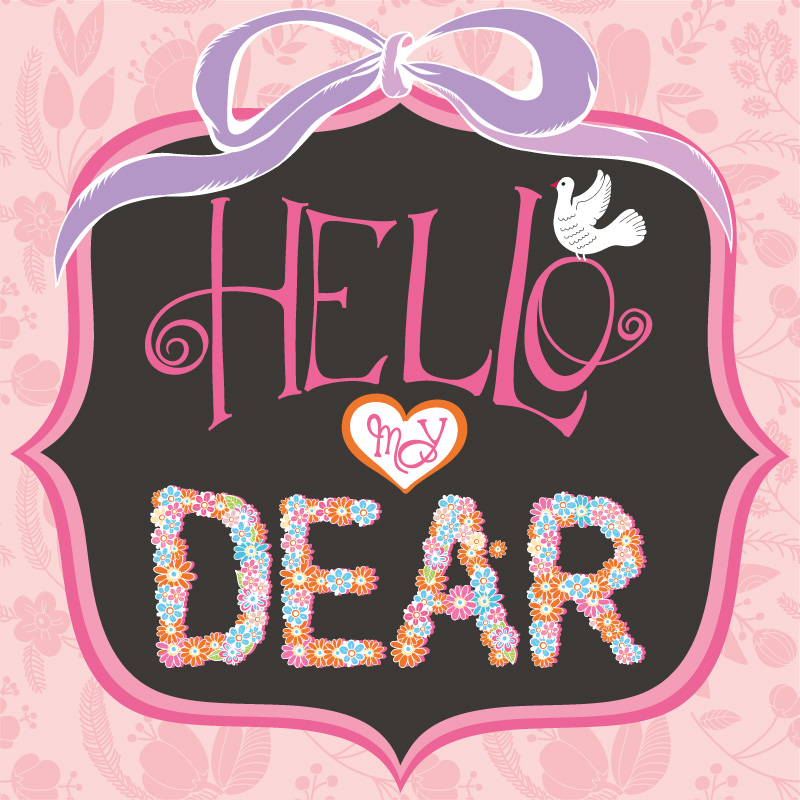 Dear floral card pink