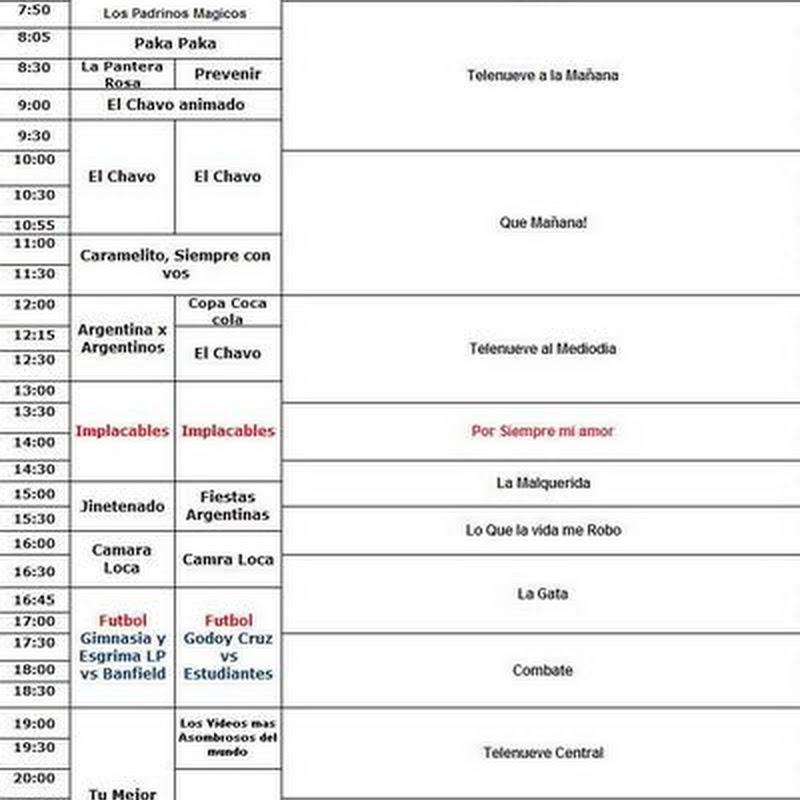 Canal 9: Grilla de programacion de la semana del 15.11.14