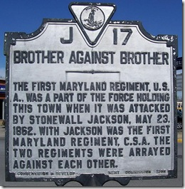 Brother Against Brother marker J-17 in Front Royal, VA