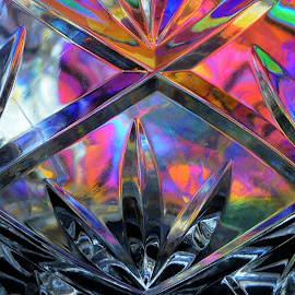 Crystal Vase Macro by Ashok Borkakoti - Abstract Macro ( colour, vase, macro, pattern, cutglass, glass, lines, crystal, refraction, curves, closeup, design )