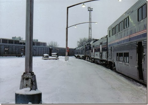 BNSF-CP Crossing in Minot, North Dakota in December 2002