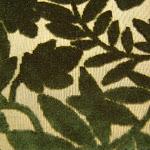 Tkanina ognioodporna, obiciowa. Plusz. Motyw roślinny. Zielona.