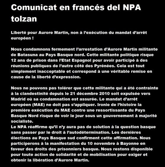 comunicat NPA Tolzan