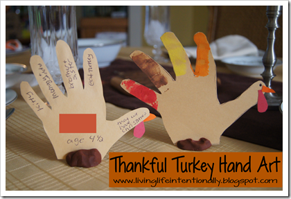 Thankful Turkey Hand Art Thanksgiving Kids Activity