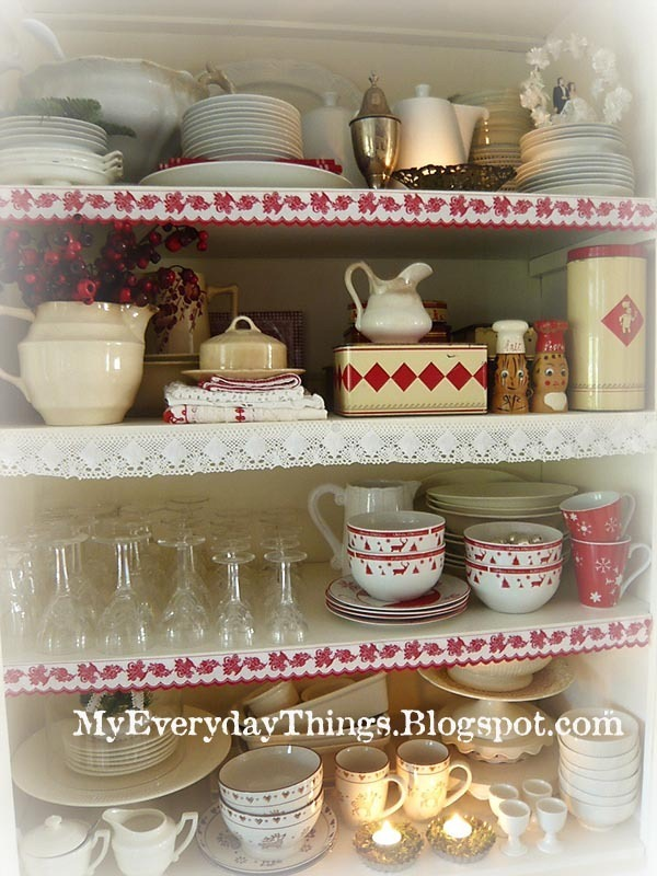 Kitchen Shelves Red White Decoration