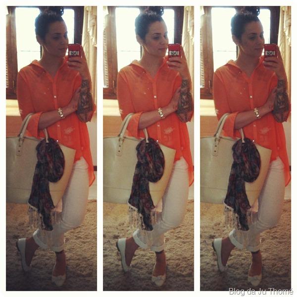 look calça barnca, camisa mullet laranja, bolsa e lenço