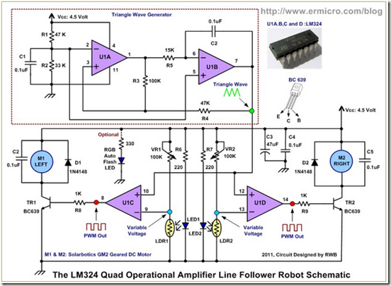 The mobile line follower robot circuit